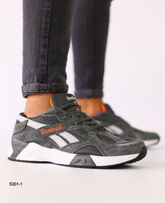 Код 5301-1 Мужские кроссовки замшевые темно-серые с светло-серыми кожаными вставками размеры 41-46