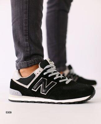 Код 5309 Мужские черные замшевые кроссовки с вставкой сеточкой и серыми кожаными вставками размеры