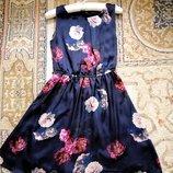 Шикарнейшее платье шёлк, цветы S-M