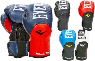 Перчатки боксерские кожаные на липучке Elast 6757 10-12 унций 5 цветов