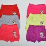 Трикотажные шорты для девочки лол Салатовые и Малиновые рост 86-104 см