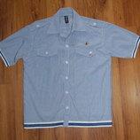 рубашка с коротким рукавом ,голубая, рост 164