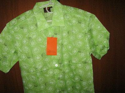 хлопковая новая легкая мужская рубашка с коротким рукавом нежно зеленого цвета