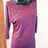 Легкая блуза кофта из вискозы удлиненная сзади