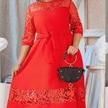 Свободное платье с поясом, большого размера