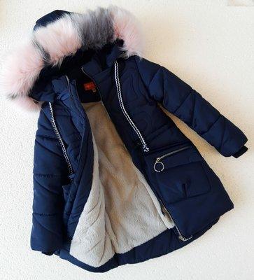 Зимняя куртка для девочки, Бабочка синяя, 116 см. Последний размер