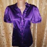 Красивая женская атласная фиолетовая блузка, рубашка с жабо, с коротким рукавом F&F