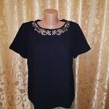 Красивая женская черная кофта с коротким рукавом, футболка, блузка с камнями F&F