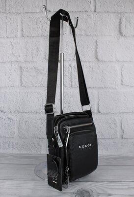 Малая сумка мужская, борсетка кожаная gucci 6029-1 черная