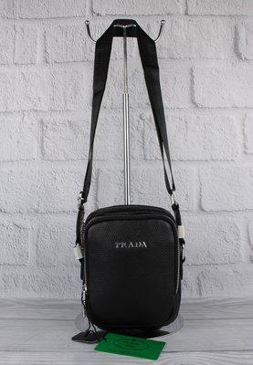 Малая сумка мужская, борсетка кожаная prada 6030-1 черная