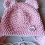Шапка с ушками вязаная ручная работа нежно-розовая велюр новая теплая handmade