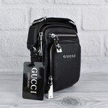 Сумка малая через плечо, кожаная черная Gucci 6029-1