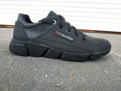 Мужские стильные кожаные черные кроссовки 40 -45 р-р
