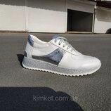 Стильные женские белые кожаные кроссовки 36-40 р-р