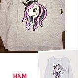 Реглан h&m с единорогом/реверс-пайетки/кофта с длинным рукавом на девочку 110-116см