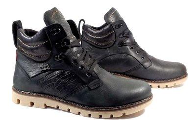 Качественные в стиле Levis Зимние мужские ботинки смотрятся дорого черные кожа Супер