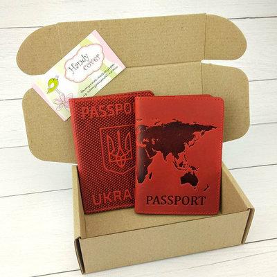 Подарочный набор 35 обложка на паспорт Герб обложка на загранпаспорт Карта красный