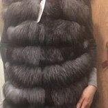 Натуральная жилетка чернобурка