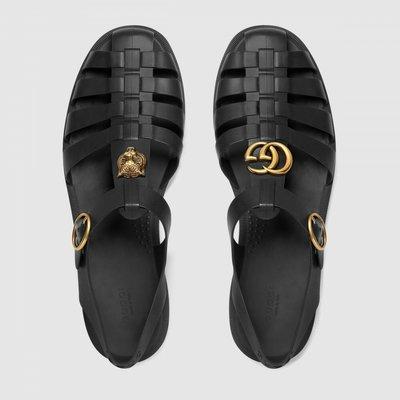 Сандалии Gucci Rubber Buckle Strap Black кожа черные