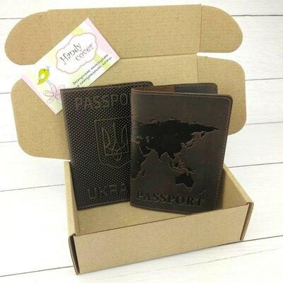 Подарочный набор 35 обложка на паспорт Герб обложка на загранпаспорт Карта коричневый
