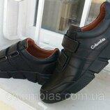 Кожаные кроссовки-туфли на липучках