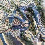 Шикарный шелковый платок в цветочный принт/натуральный шелк