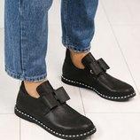 Ботинки, натуральная кожа, открытые с бантом, черные