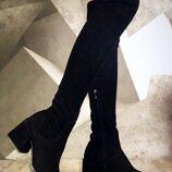 Женские сапоги ботфорты замшевые, натуральные