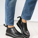Ботинки Деми, натуральная кожа, черные