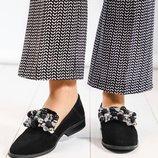 Туфли - лоферы с декором, натуральная замша, черные
