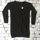 Женский свитер удленненный полувер черный джемпер