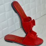 Шлепанцы бант натур замша красные 36-43р все цвета индивидуальный пошив