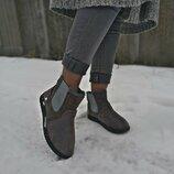 Крутые Супер Замшевые Угги Полусапожки Ботинки на меху Маломерят Серые