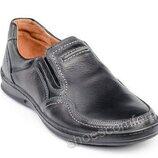 Туфли мужские кожаные на резинке Bastion 006 черные