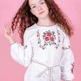 Вышиванка для девочек без разреза, белая рост 104-156