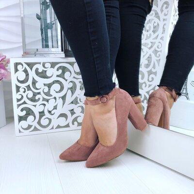 Женские туфли с ремешком замшевые , кожаные