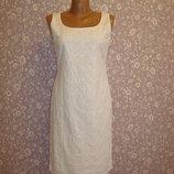 Платье футляр летнее, хлопковое, вышивка прошва размер 8-10 Per Una