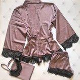 Домашний комплект шортики маечка халат