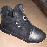 Демисезонные ботинки на девочку 32-37 р Bessky, осенние, весенние, флисе, бески, черные, fila, школу