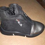 Демисезонные ботинки на девочку 26-31 р Bessky, осенние, весенние, флисе, бески, черные, fila, школу