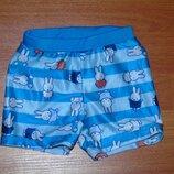 Голубые пляжные плавки,шорты с зайчиками, 86,92,18-24 мес., 1,5-2 года Состояние новых