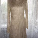 Золотистое платье Next р.10 ог 90-102, т.70-84, б.96-110, рук.65, дл.85