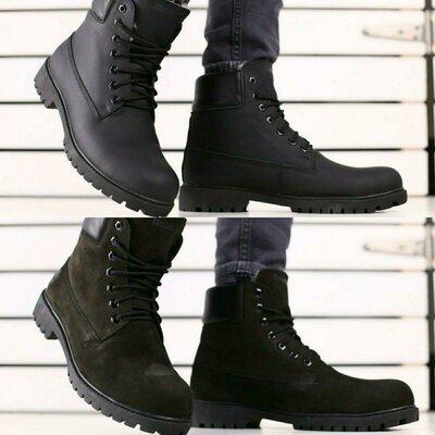 Мужские зимние ботинки из натурального нубука и кожи, код ks-4225