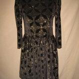Велюровое платье с золотом Topshop р-р10