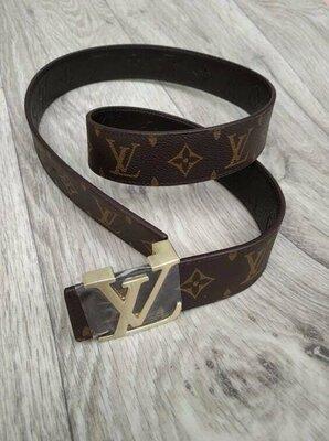 Кожаный двухсторнний ремень в стиле Louis Vuitton, Луи Виттон, унисекс