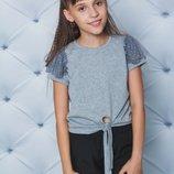 Блуза футболка школьная на завязках короткий рукав