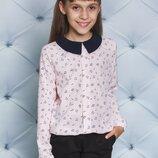 Блуза школьная для девочки с узорами три цвета