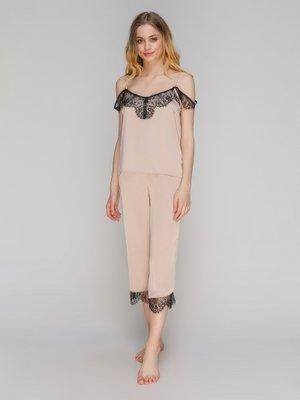 Пижама комплект женского белья Serenade 923 шелк беж с черным кружевом