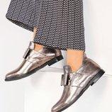 Ботинки, натуральная кожа, открытые с бантом, золотистые