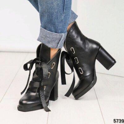 Ботинки, натуральная кожа, с оригинальной шнуровкой, черные